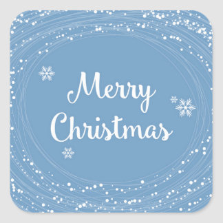 Gladlynt vit för blått för god julsnöstjärnor fyrkantigt klistermärke