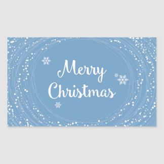 Gladlynt vit för blått för god julsnöstjärnor rektangulärt klistermärke