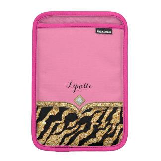 Glam chic blänka Gem för zebra tryckmönsterguld iPad Mini Sleeve