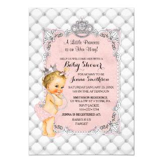 Glam för Princess flicka för pärladiamanter blond 12,7 X 17,8 Cm Inbjudningskort
