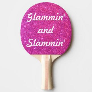 Glam Glittery sportar för rosa glitter för gnistra Pingisracket