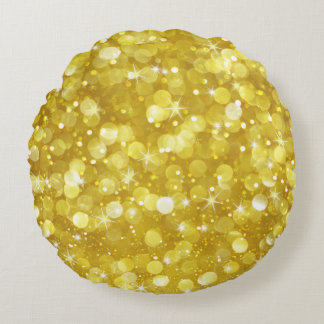 Glam guld- Bokeh glitter Rund Kudde