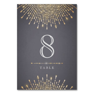 Glam guld- kort för art décovintage bröllopbord