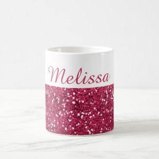 Glam namn för rosaglitteranpassningsbar kaffemugg