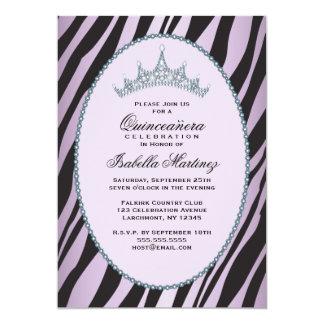 Glam party för Princess Tiara Sebra Lila 12,7 X 17,8 Cm Inbjudningskort
