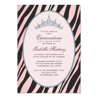 Glam party för Princess Tiara Sebra Rosa 12,7 X 17,8 Cm Inbjudningskort