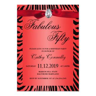 Glam rött band zebra mönstrad sagolika femtio 12,7 x 17,8 cm inbjudningskort