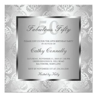 Glam silver damastast eleganta sagolika femtio fyrkantigt 13,3 cm inbjudningskort