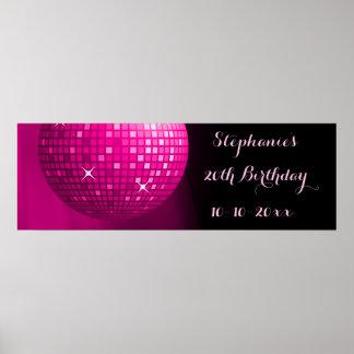 Glamorös 20th boll för disko för födelsedagshock poster