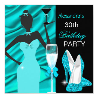 Glamorös födelsedag för champagne för flicka för fyrkantigt 13,3 cm inbjudningskort