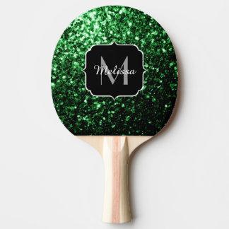 Glamorös mörk - grönt glitter sparkles monogramen pingisracket