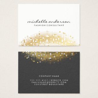 Glamorösa guld- Sequinvitgrått Visitkort