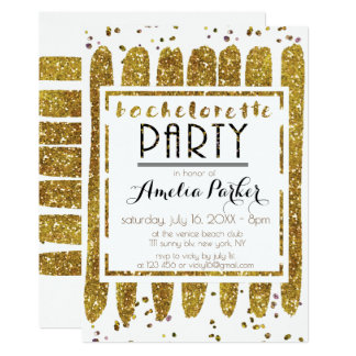 Glamoröst guld- blänka Bachelorette party 12,7 X 17,8 Cm Inbjudningskort
