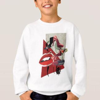 Glamour för mode för kant för Wellcoda kvinnor röd Tee Shirts