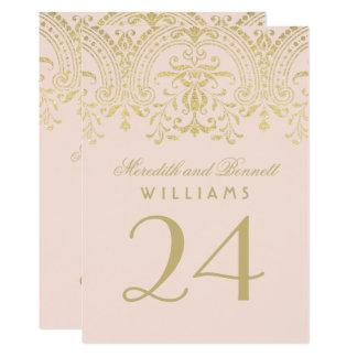 Glamour för vintage för bröllopbordsnummer | rodna 12,7 x 17,8 cm inbjudningskort