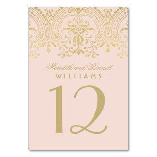Glamour för vintage för bröllopbordsnummer | rodna bordsnummer