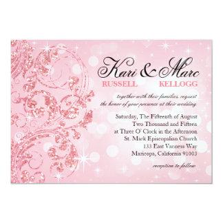 Glamourglitter Luxe Bokeh som gifta sig | 12,7 X 17,8 Cm Inbjudningskort