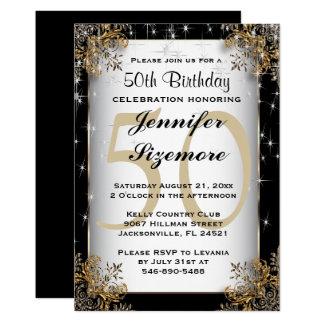 Glamourous födelsedagmall - 50th födelsedag 12,7 x 17,8 cm inbjudningskort