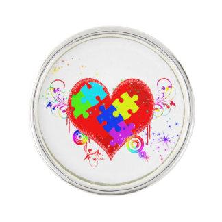 Glänsande hjärta för Autism Kavajnål