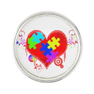 Glänsande hjärta för Autism Rockslagsnål