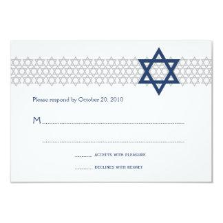 Glänsande OSA kort för stjärnapubMitzvah blått 8,9 X 12,7 Cm Inbjudningskort