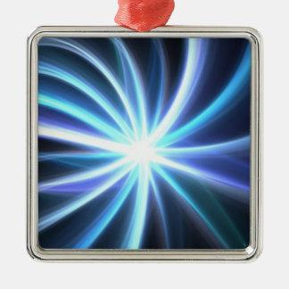 Glänsande sol- Fractal Starburst för blått Julgransprydnad Metall