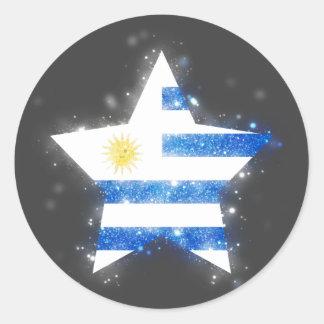 Glänsande Uruguay flaggastjärna Runt Klistermärke