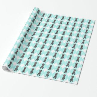 Glansig Grizzly i blått som slår in papper Presentpapper