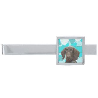 Glansig Grizzly i blåttsmycken Slipsnål Med Silverfinish