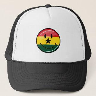 Glansig runda som ler den Ghanian flagga Keps
