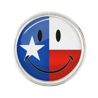 Glansig runda som ler den stolt Texas flagga Kavajnål