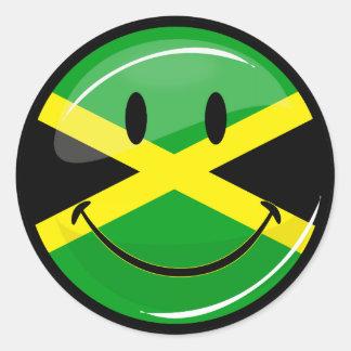 Glansig runda som ler jamaikansk flagga runt klistermärke