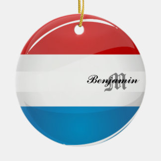 Glansig rundaLuxembourg flagga Julgransprydnad Keramik