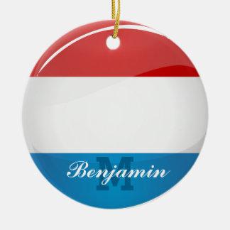 Glansig rundaLuxembourg flagga Rund Julgransprydnad I Keramik