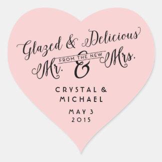 Glasade och läckra brölloptackklistermärkear hjärtformat klistermärke