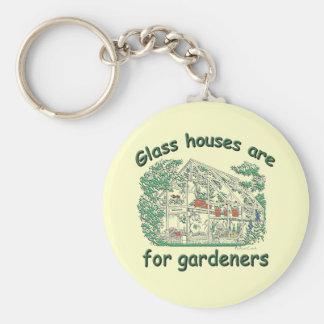 Glashus är för trädgårdsmästarar rund nyckelring
