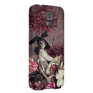 Glass blom- Collage för vintagekvinna Galaxy S5 Fodral