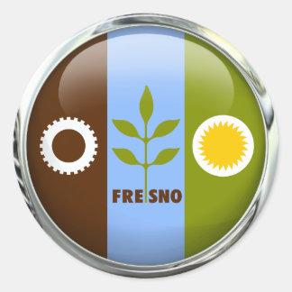 Glass boll för Fresno flagga Runt Klistermärke