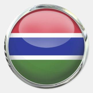 Glass boll för Gambia rundaflagga Runt Klistermärke