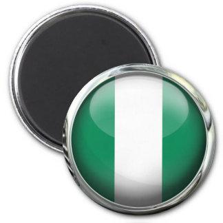 Glass boll för Nigeria flagga Magnet