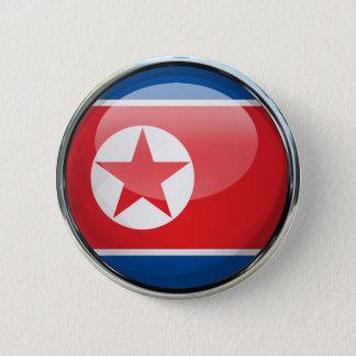 Glass boll för Nordkorea flagga Standard Knapp Rund 5.7 Cm