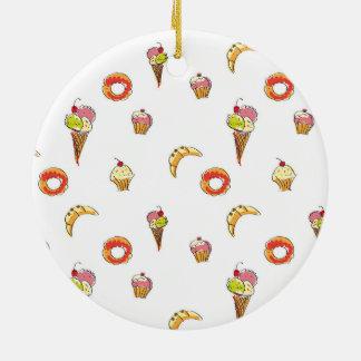 Glass-, donuts- & muffinsdesign julgransprydnad keramik