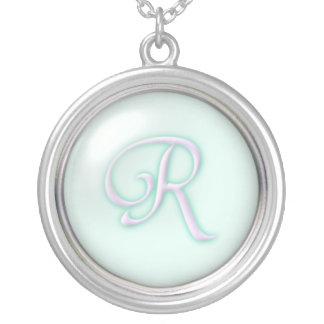 Glass Monogramhalsband för blått - brev R Silverpläterat Halsband