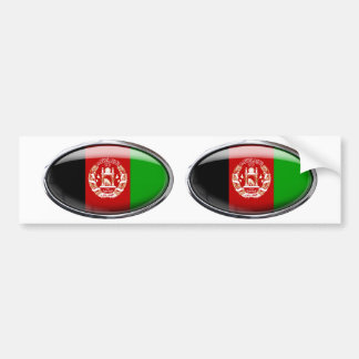 Glass Oval för Afghanistan flagga Bildekal