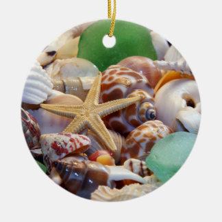 Glass prydnad för snäckskal, för sjöstjärna & för julgransprydnad keramik