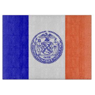 Glass skärbräda med flagga av New York City USA
