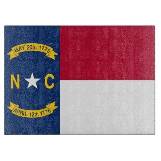 Glass skärbräda med flagga av North Carolina