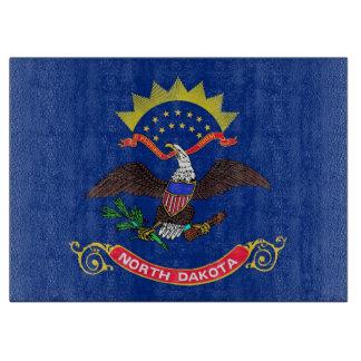 Glass skärbräda med flagga av North Dakota