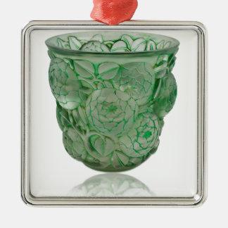 Glass vas för frostad grön art déco med Roses. Julgransprydnad Metall