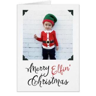 Glatt kort för hälsning för Elfin julfoto